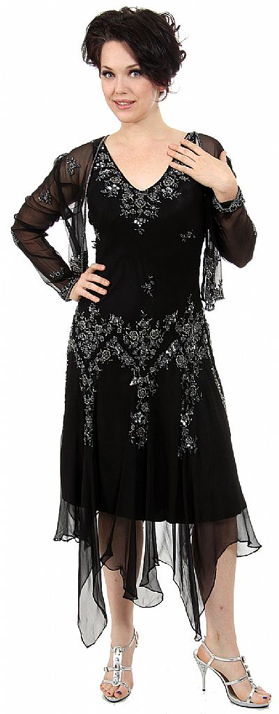 V Neck Beaded Silk Mother Of The Bride Dress With Jacket 1078