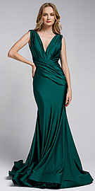 Wholesale Prom Dress item a370. Satin Fitted V Neck Prom Dress.