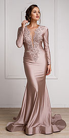 Wholesale Prom Dress item a372. Fitted & Embellished Full Sleeve Prom Gown.