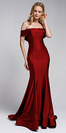 Wholesale Prom Dress item a373. Off Shoulder Fitted Prom Gown.