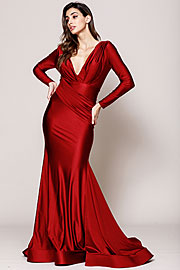 Wholesale Prom Dress item a381. V Neck Rouched Formal Dress with Long Sleeves.