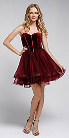 Wholesale Prom Dress item a464s. Strapless Short Babydoll Prom Dress.