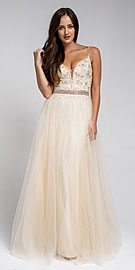 Wholesale Prom Dress item a576. Beaded Spaghetti Prom Gown with Tulle Skirt.
