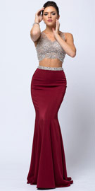 Wholesale Prom Dress item a759. Bejeweled V-neck Mesh Top Fit-n-Flare Long Skirt Prom Dress. Bejeweled V-neck Mesh Top Fit-n-Flare Long Skirt Prom Dress. V-neck sheer mesh top is adorned with jewels in all sizes with a-shape hemline & back zipper closure. Bejeweled waistline on the fitted skirt which has flared bottom, little train & back zipper closure too. Bra cups on the top.  Imported.