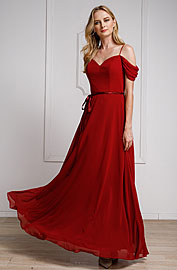 Wholesale Prom Dress item a824. Spaghetti Straps Cold-shoulder Long Bridesmaid Dress.
