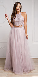 Wholesale Prom Dress item a916. Dazzling Embroidered Two Piece Halter Prom Dress.
