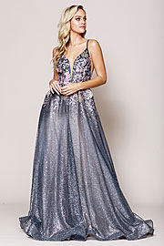 Wholesale Prom Dress item asu064. Rhinestone Embroidered Spaghetti Strap Prom Gown.
