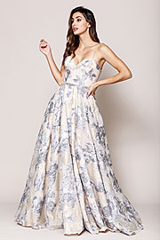 Wholesale Prom Dress item asu065. Floral Print and Embroidered Flared A-Line Prom Gown.