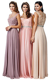 "Wholesale Prom Dress item p9400. Embroidered Lace Sheer Top Long Formal Prom Dress. Embroidered Lace Sheer Top Long Formal Prom Dress. Round sheer mesh neckline with embroidered floral lace top. Embellished waistband all around with closed sheer mesh back with floral lace too. 60"" long dress has a-shape floor length chiffon skirt with bra cups too. Back zipper closure. Imported."
