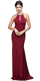 "Wholesale Prom Dress item p9708. Jeweled Collar Cut Out Back Long Jersey Prom Dress. Jeweled Collar Cut Out Back Long Jersey Prom Dress. Rhinestones like beads decorate the round collar with a keyhole below that. Fitted at the bodice & flared at the bottom polyester jersey dress has a cut-out back with hook & zipper closure. 62"" long dress has built-in bra cups too. Imported."