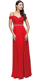 "Wholesale Prom Dress item p9718. Cold Shoulder Beaded Waist Long Bridesmaid Prom Dress. Cold Shoulder Beaded Waist Long Bridesmaid Prom Dress. Sweetheart neck bodice which is ruched and twisted & also has ruched off-the-shoulder sleeves that lay gently over the arms. Beaded shoulder straps providing style and support with shimmering sequins encircling the waist. Corset back laces up for a classic style on this 60"" long polyester chiffon dress. Imported."