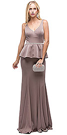 "Wholesale Prom Dress item p9750. Deep V-Neck Peplum Bodice Long Formal Prom Dress. Deep V-Neck Peplum Bodice Long Formal Prom Dress. Peplum top drapes over the hips from the shimmering rhinestones waist detail. Sleeveless top has deep v-neck with bra cups. Flared bottom 62"" long jersey dress has v-shape back with zipper closure. Imported."
