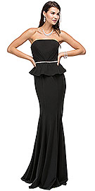 "Wholesale Prom Dress item p9753. Strapless Peplum Top Rhinestones Waist Long Prom Dress. Strapless Peplum Top Rhinestones Waist Long Prom Dress. Rhinestones make a thin waistband around ruched peplum top and it has removable spaghetti straps. The jersey fabric skirt is fitted around hips & flared at the bottom with bulit-in bra cups. Back zipper closure on 63"" long dress. Imported."