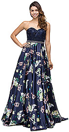 Wholesale Prom Dress item p9775. Bejeweled Waist Lace Top Floral Skirt Long Prom Dress. Bejeweled Waist Lace Top Floral Skirt Long Prom Dress. Sweetheart neckline on lace top embellished with scattered rhinestones & jewels on the waist too. Flared & puffy floral print polyester skirt with tulle lining. Bustier style back straps with zipper closure too. Imported.