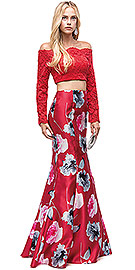 "Wholesale Prom Dress item p9862. Off-the-Shoulder Lace Top Floral Skirt Two Piece Prom Dress. Off-the-Shoulder Lace Top Floral Skirt Two Piece Prom Dress. Scallop like neckline on sheer lace full sleeves top. Floral print polyester satin fit-n-flare skirt is 48"" long with flared bottom. 12"" long top has built-in bra cups with back zipper closure & zipper closure on skirt too. Imported."